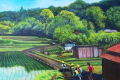 朝の通学路(油彩、F10 530×455cm、¥60,000 額なし)