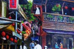 九份(キュウフン)街頭にて(油彩、F6 410×318cm、¥40,000 額なし)