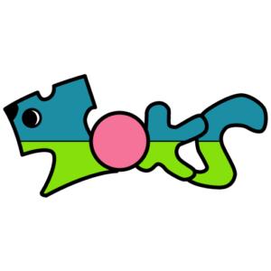 スタジオトークスのサイトアイコンです。犬とTシャツを意識しています。メインカラーは青と緑。
